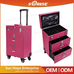 Guangzhou Manufacturer Pink Pvc/Pu Nail Art Organization Case