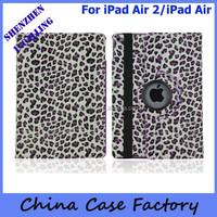 Fashion Design Leopard Pattern 360 Rotate Leather Case For ipad Air 2