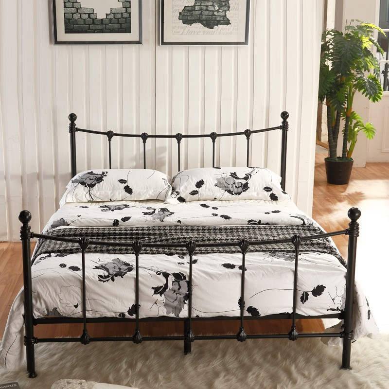 modern design wrought iron single queen king bed for bedroom furniture