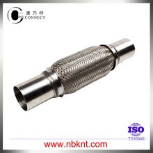 Long life exhaust flexible with nipples and outer wire mesh