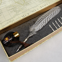 Hot sale!Christmas feather quill pen/Custom Plume Pen for gifts