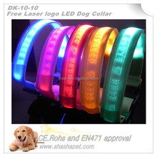 Free laser Logo dog product in flashing collar and flashing dog collar