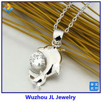 Small Dolphin With Synthetic CZ Diamond Copper Alloy Pendant Necklace