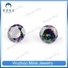 round shape rainbow polished cubic zirconia gemstone