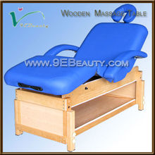 wooden fixed massage table with storage