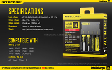 Authorized distributor Authentic Nitecore I4 4bay 18650 battery charge 3.7v with I2 I4/D4/D2 I4 charger battery charger