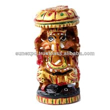 Hand Crafted Indian Royal Ganesha Gold Meenakari Painted Wooden Sculpture Statue