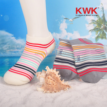Grey and light yellow strip wood low cut ped sock for children