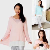 Hot Wholesale!! cotton Nursing clothes Nursing sleepwear Maternity Lounge Breastfeeding sleepwear for Pregnant Women
