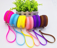 Macaroon Silicone Coin Purse Women's bag travel bag round Jewelry Pouch