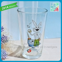 Christamas home decorations drinking glass cup wholesale drinking glassware with smart rabbit decal logo