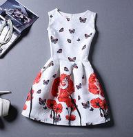 New summer style women dress casual mini o-neck sleeveless short A line dress party elegant summer dress plus size