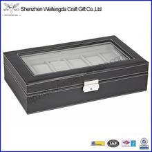 Vintage Design 12 Mens Black PU Leather Display Glass Watch Box Jewelry Case