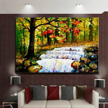 High Skills Artist Hand-painted Knife Painting Waterfall Oil Painting On Canvas Handmade Knife Oil Painting Waterfalls Paintings