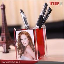 Acrylic pen holder,Acrylic photo frame,Acrylic Square Magnetic Pen Holder with Photo Frame