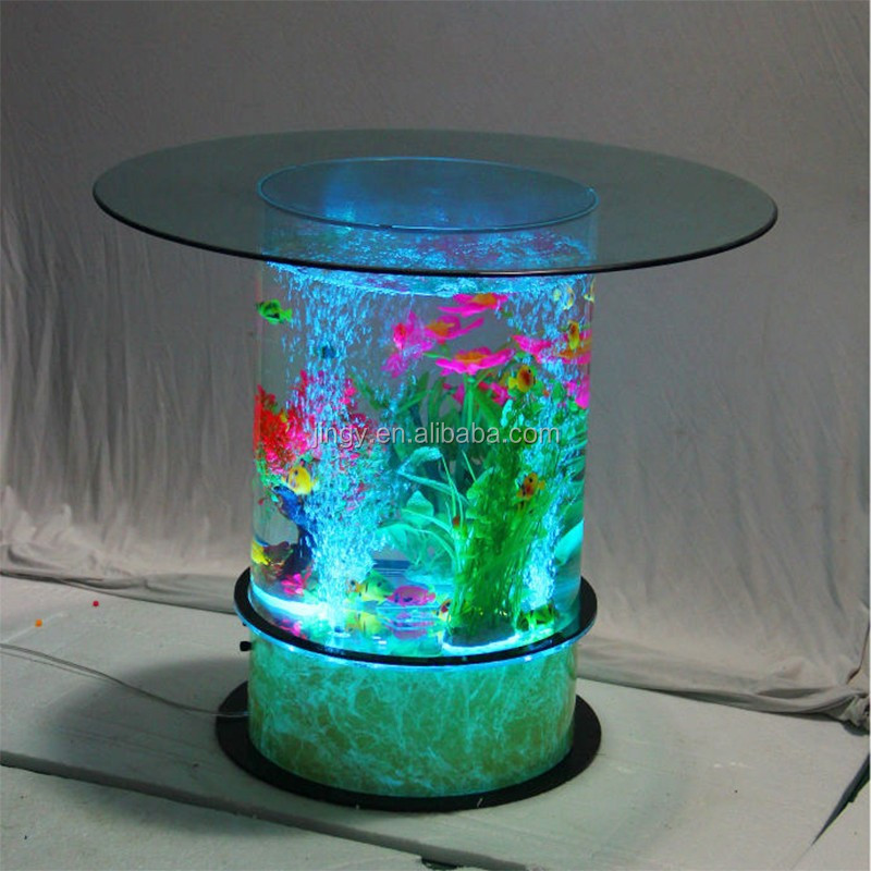 China made led light round circular acrylic coffee table for Circular fish tank