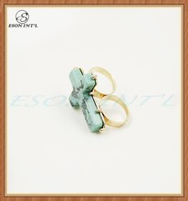 Unique Newest Delicate Women Charming Two Finger Resin Cross Ring