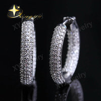 Stock High Quality White CZ Gold Earrings Wholesale Jewelry XYE100331
