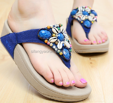jelly flat girls sandals shoes with rhinestone or pearls slipper