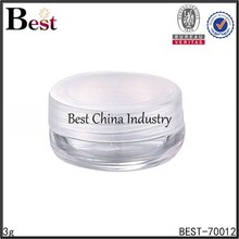3g clear round jar plastic with white plastic cap, alibaba hot sale small plastic jar