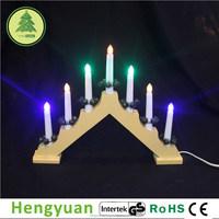 7L Yellow Wooden LED Christmas Candle Bridge Light Decorations