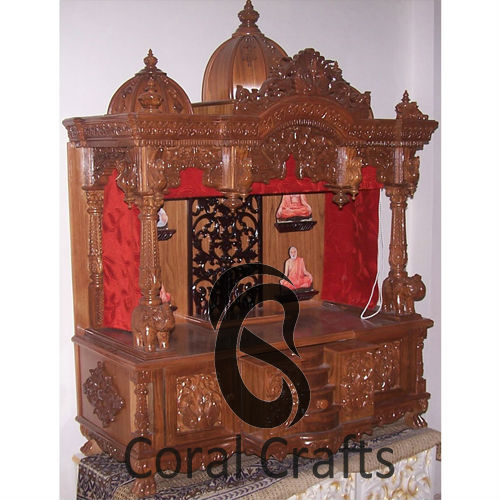 teak wood temple with curtains buy wooden mandir for