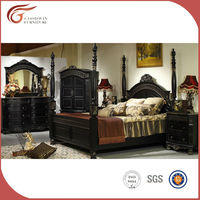 100% hand carved solid wood furniture for bedroom,black classic bedroom furniture (WA133)