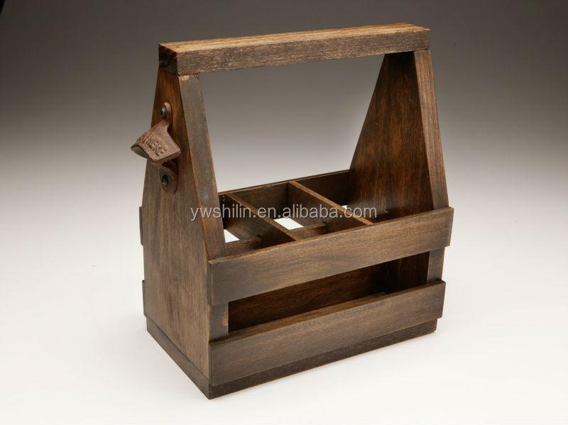 holz bier flasche caddy antik holz bierkasten holz. Black Bedroom Furniture Sets. Home Design Ideas