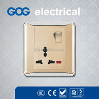 gold 13A 3 pin multiple wall socket outlet with switch