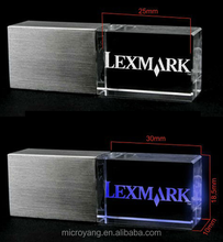 2015 New style Fancy acrylic crystal usb with 3D logo engraved