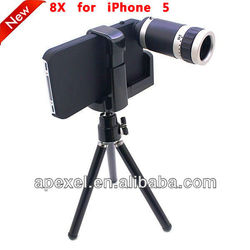 For Apple iPhone 5 5G 5th Mini 8X Zoom Telescope Camera Lens with Back Cover Case CL-8-5