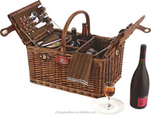 New style hottest sale wicker basket with wine holder and cooler bag with handle