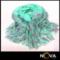 2015 New arrival rose printed polyester viscose scarf
