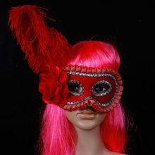 Wholesale red Ostrich feathers halloween mask party masks
