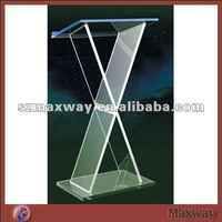 X-shaped floor modern table board plexiglass church pulpit lecten