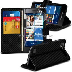 2015 High Quality PU Leather Flip Wallet Book Case Cover For Blackberry Leap
