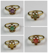 Hot Selling Factory Price Many Different Zircon Colors Simple Design Brass Flower Ring