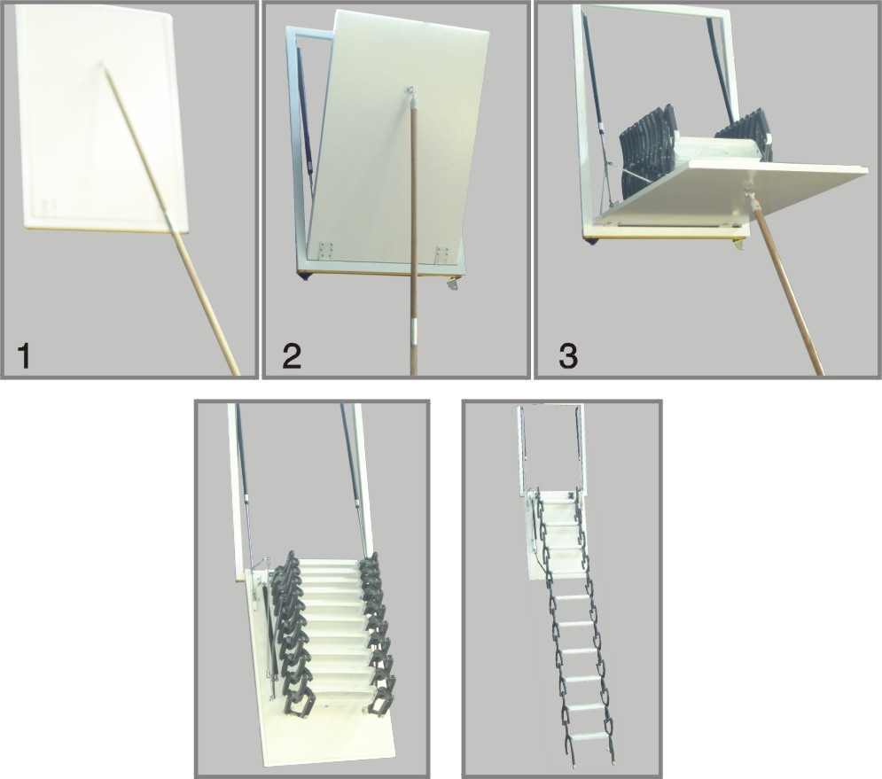 Aluminum folding attic ladder with handrail buy folding for Folding stairs