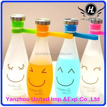 Hot sale 450ml bowling shape frosted glass beverage bottle with cap