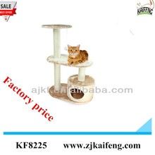 Factory supply Small beige cat climbing tree sisal cat scratching post cat house