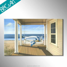 Modern wood house and white swing mediterranean seascape oil painting