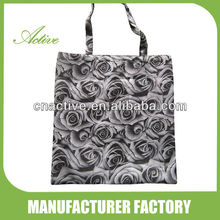 Polyester foldable shopping bag with flower printed