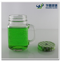Custom 450ml empty square glass mason jar with handle and caps with hole wholesale