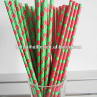 2013 New Assorted Red Green Polka Dots paper straws for Christmas party