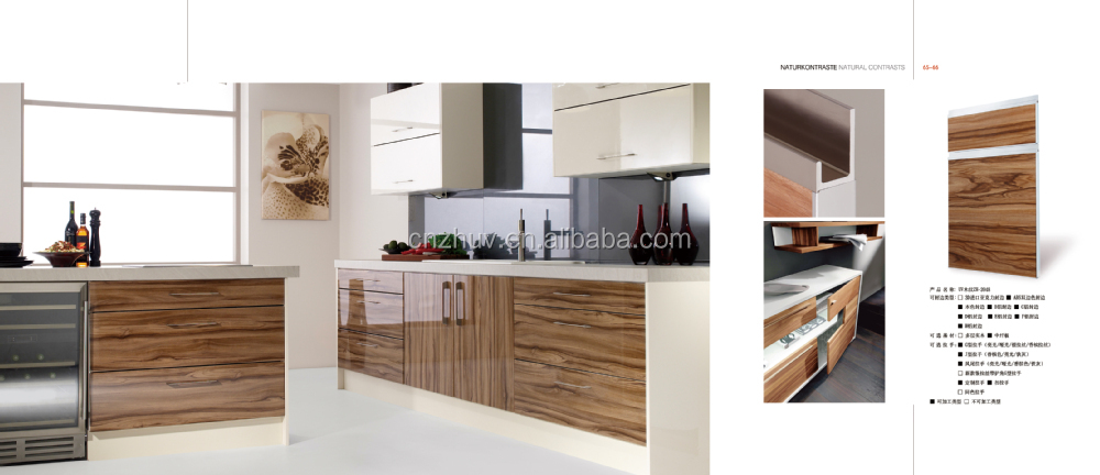 High Gloss Vinyl Wrap Doors Kitchen Cabinets With Quartz Countertops