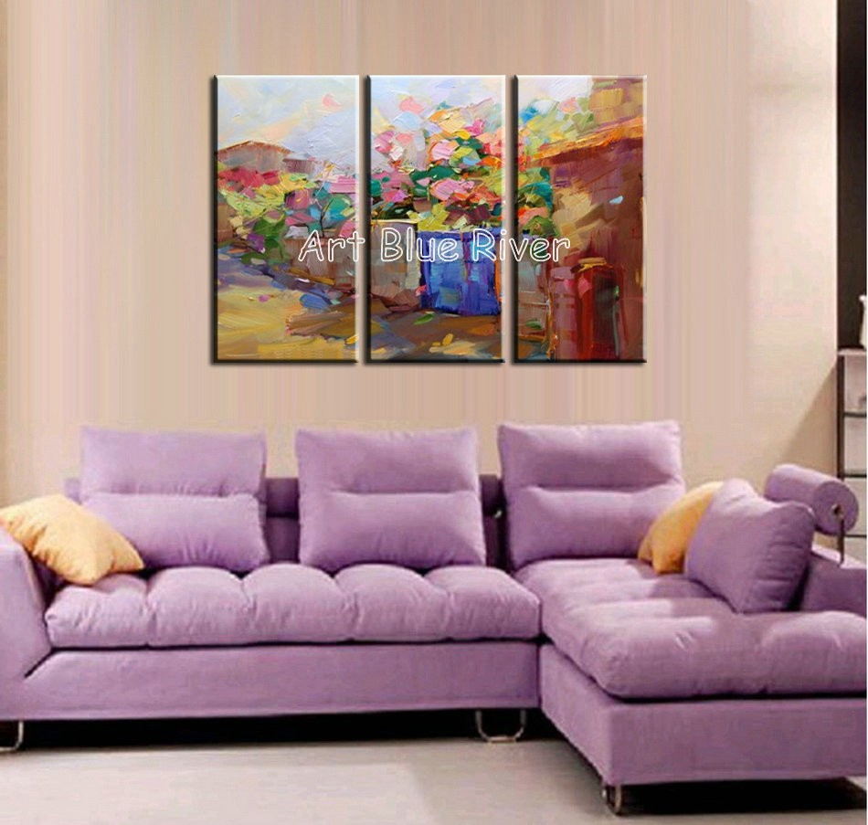 Buy 3 piece abstract modern Knife paint beautiful canvas wall art handmade Venice oil painting on canvas for living room decoration cheap