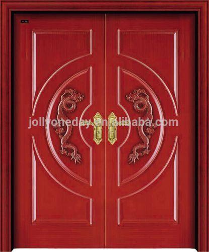 Grande villa double porte d 39 entr e en bois avec dragon chinois - Grande porte d entree ...