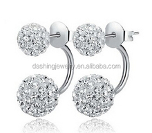 925 sterling Silver Double-faced Round Ball Clear crystal stud earring double ball