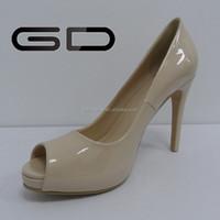 patent leather high heel peep-toe women shoes