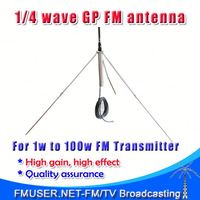 FMUSER GP100 1/4 wave Professional Cb Fm Antennas Transmitter+ 8meters cable BNC/NJ/TNC connector-RC1